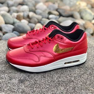 Nike Air Max 1 Sneaker Shoe Red Gold Sequin 8